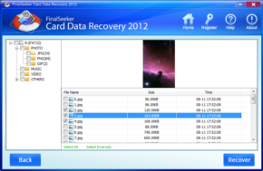 FinalSeeker Card Data Recoveryのスクリーンショット