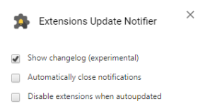 Extensions Update Notifierのスクリーンショット