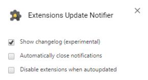Extensions Update Notifierのスクリーンショット