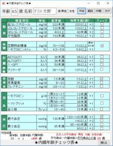 内臓年齢チェック表のスクリーンショット