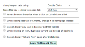 Double Click Closes Tabのスクリーンショット