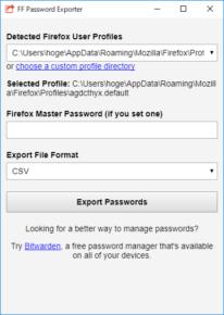 FF Password Exporterのスクリーンショット