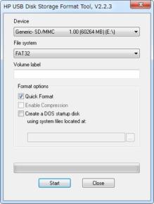 HP USB Disk Storage Format Toolのスクリーンショット