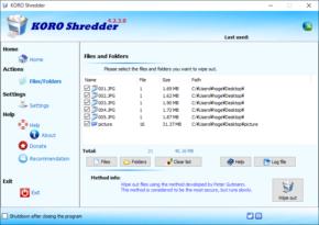 KORO File Shredderのスクリーンショット